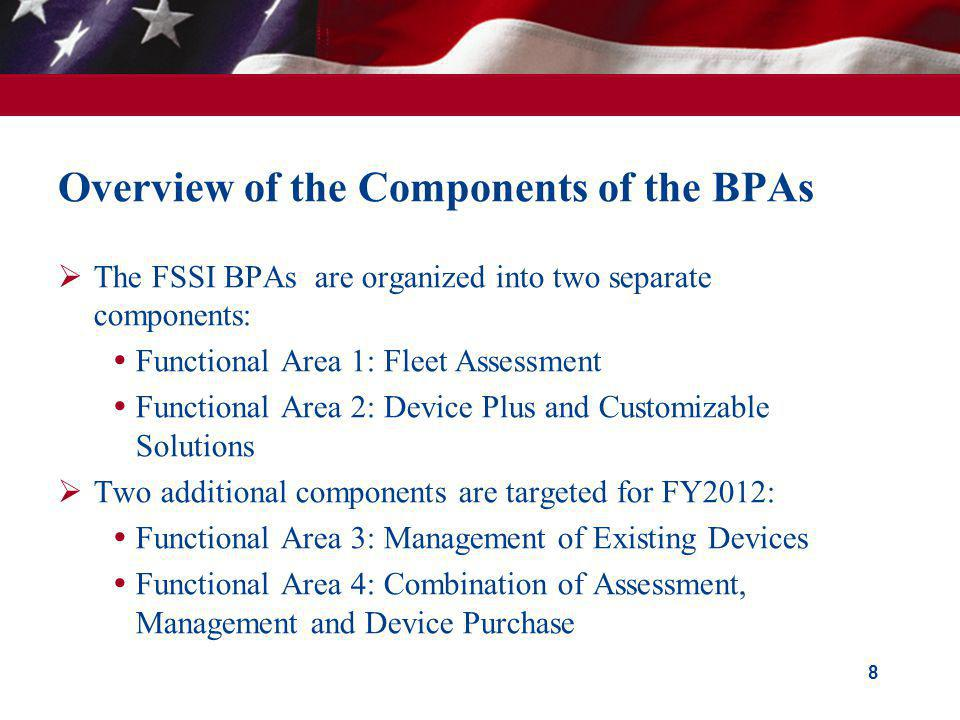 Overview of the Components of the BPAs The FSSI BPAs are organized into two separate components: Functional Area 1: Fleet Assessment Functional Area 2