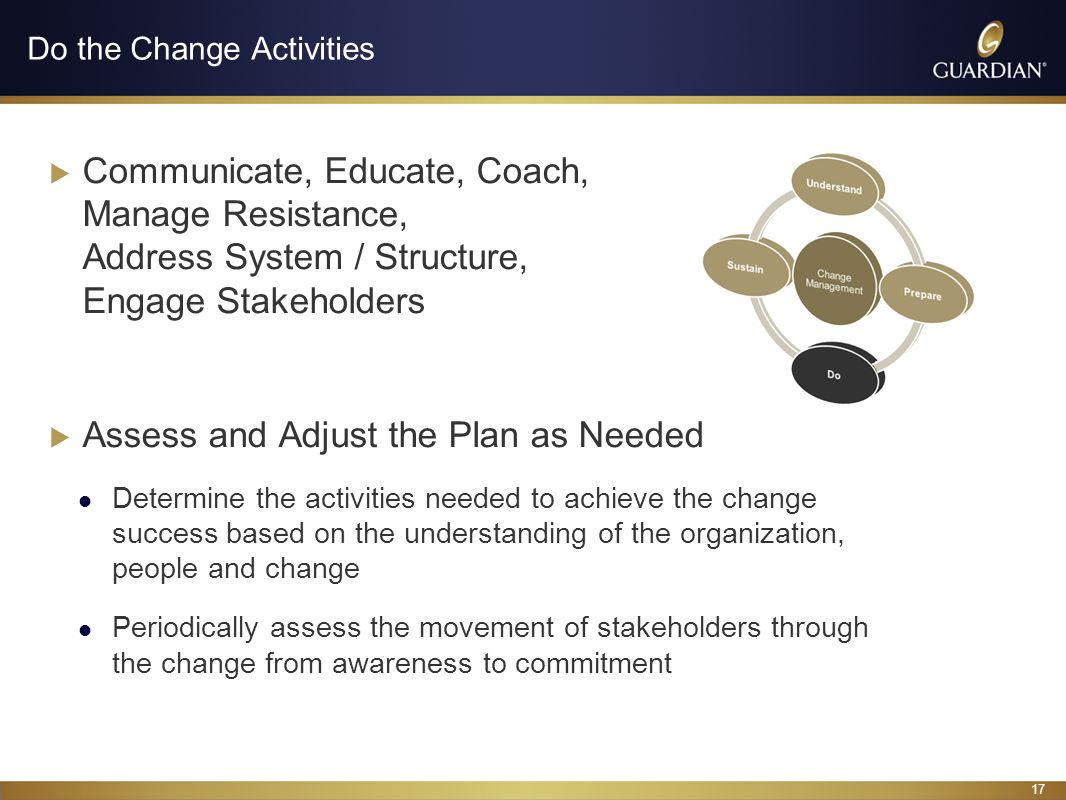 17 Do the Change Activities Communicate, Educate, Coach, Manage Resistance, Address System / Structure, Engage Stakeholders Assess and Adjust the Plan as Needed Determine the activities needed to achieve the change success based on the understanding of the organization, people and change Periodically assess the movement of stakeholders through the change from awareness to commitment