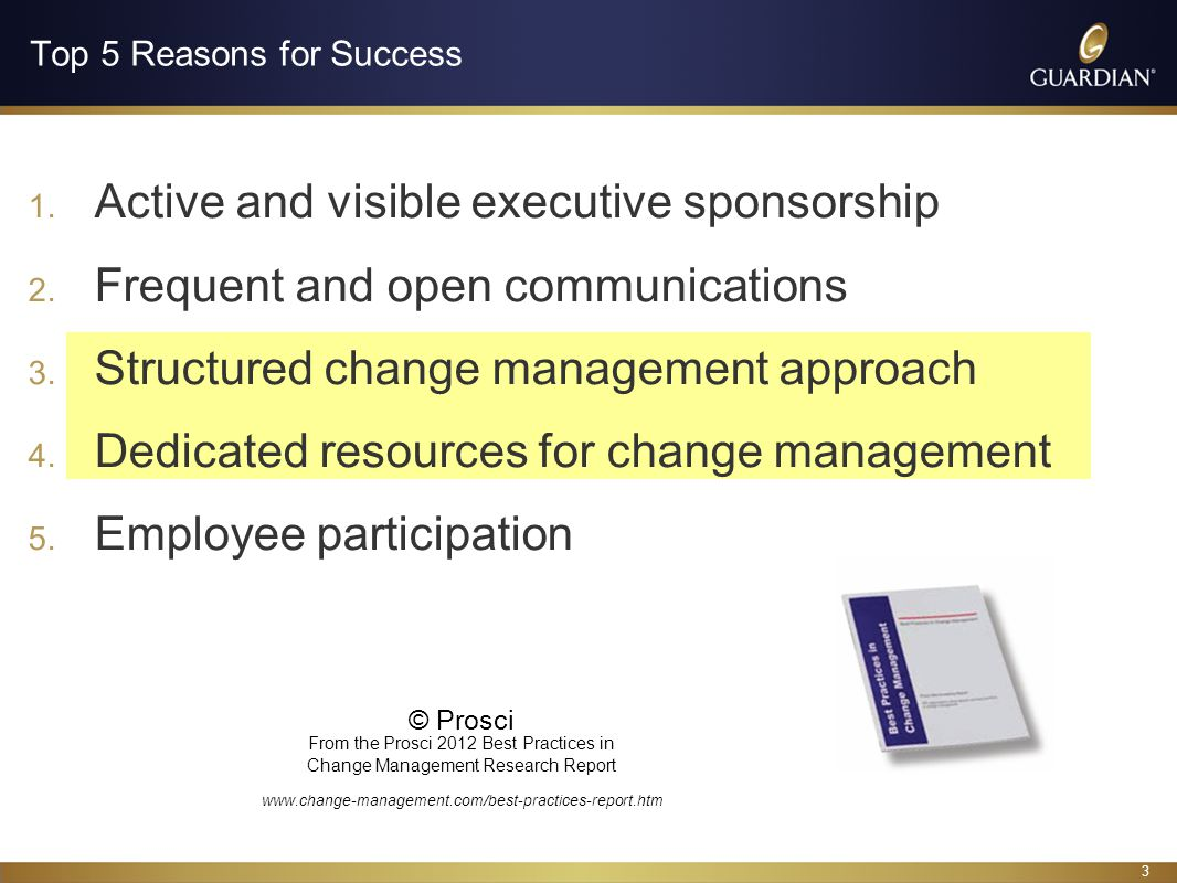 14 Prepare Analyze Impact of change on specific stakeholder groups Support or potential resistance of stakeholder groups Leadership competency and commitment (Sponsor Analysis) The Plan Determine the activities needed to achieve the change success based on the understanding of the organization, people and change Create Stakeholder Management Plan and Sponsorship Plan The Team Ensure sufficient resources; align roles and responsibilities