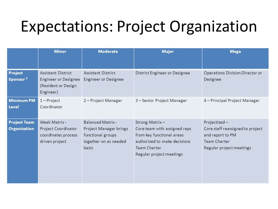 Expectations: Project Organization MinorModerateMajorMega Project Sponsor 2 Assistant District Engineer or Designee (Resident or Design Engineer) Assistant District Engineer or Designee District Engineer or Designee Operations Division Director or Designee Minimum PM Level 1 – Project Coordinator 2 – Project Manager3 – Senior Project Manager4 – Principal Project Manager Project Team Organization Weak Matrix - Project Coordinator coordinates process driven project Balanced Matrix - Project Manager brings functional groups together on as needed basis Strong Matrix – Core team with assigned reps from key functional areas authorized to make decisions Team Charter Regular project meetings Projectized – Core staff reassigned to project and report to PM Team Charter Regular project meetings