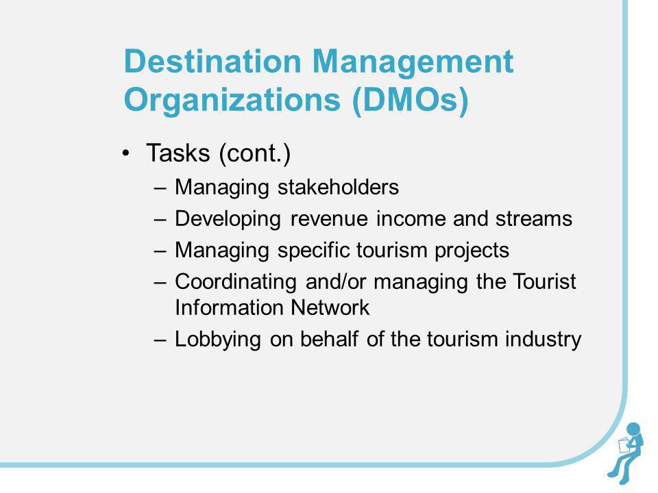 Tasks (cont.) –Managing stakeholders –Developing revenue income and streams –Managing specific tourism projects –Coordinating and/or managing the Tour