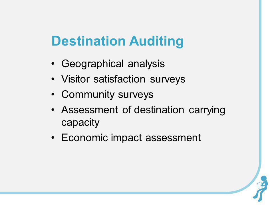Geographical analysis Visitor satisfaction surveys Community surveys Assessment of destination carrying capacity Economic impact assessment Destinatio