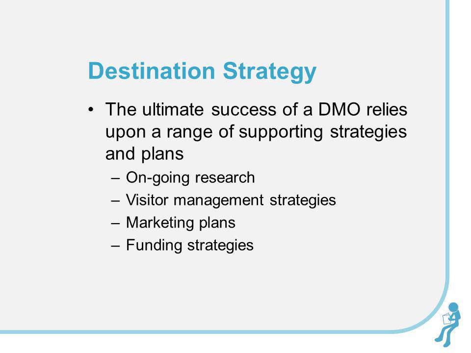 The ultimate success of a DMO relies upon a range of supporting strategies and plans –On-going research –Visitor management strategies –Marketing plan