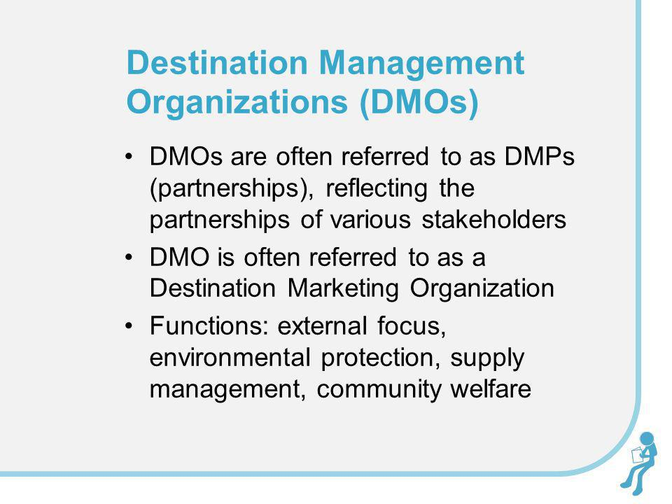 DMOs are often referred to as DMPs (partnerships), reflecting the partnerships of various stakeholders DMO is often referred to as a Destination Marke