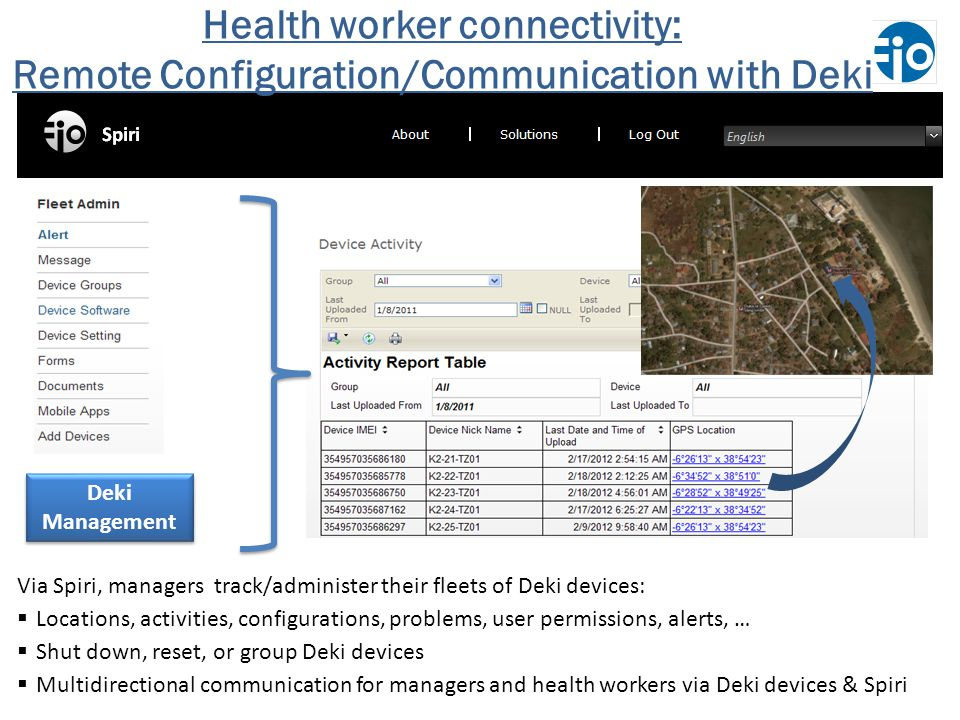 Deki Management Via Spiri, managers track/administer their fleets of Deki devices: Locations, activities, configurations, problems, user permissions, alerts, … Shut down, reset, or group Deki devices Multidirectional communication for managers and health workers via Deki devices & Spiri Health worker connectivity: Remote Configuration/Communication with Deki