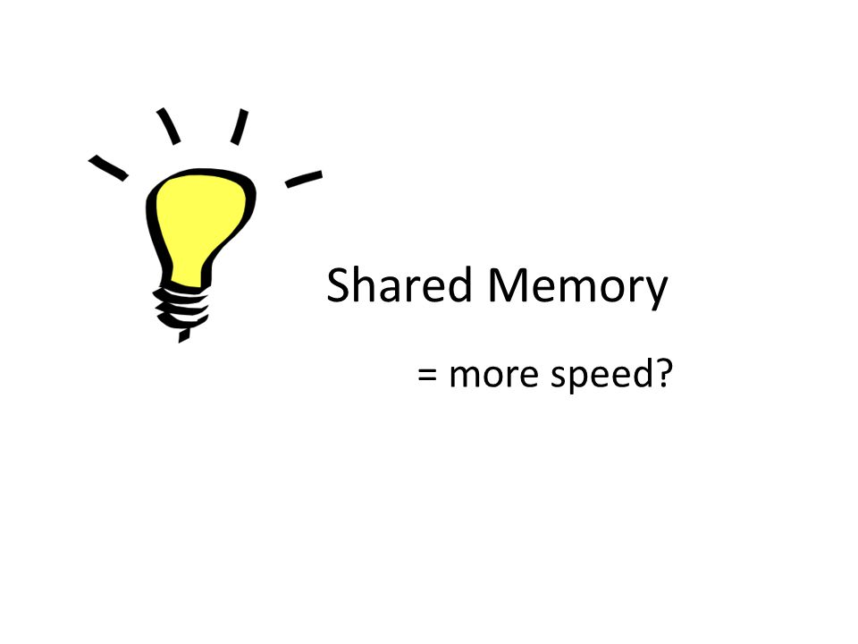 Shared Memory = more speed