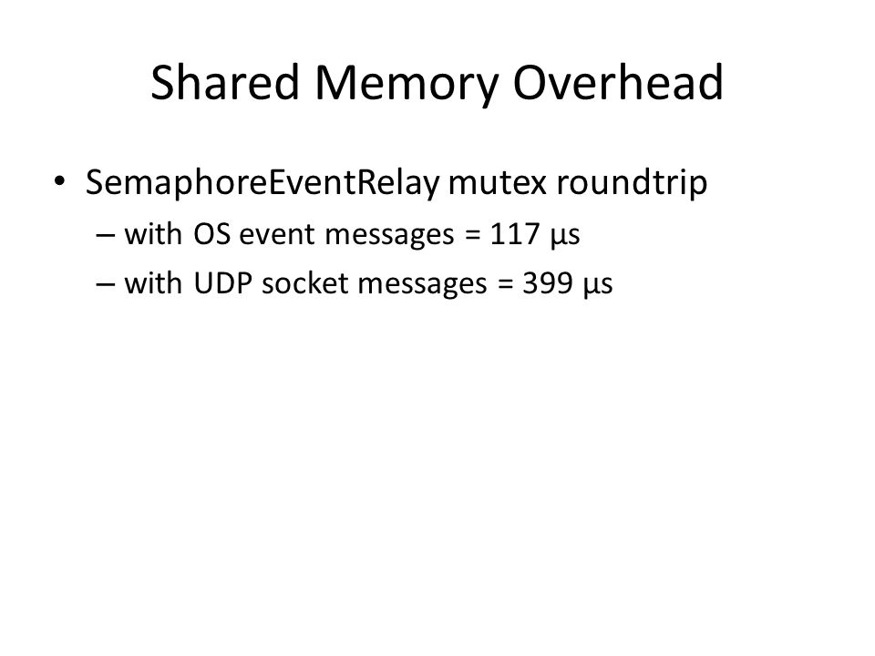 Shared Memory Overhead SemaphoreEventRelay mutex roundtrip – with OS event messages = 117 µs – with UDP socket messages = 399 µs