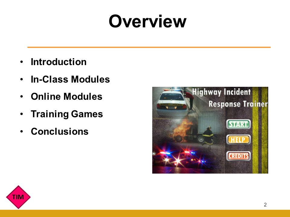 Introduction In-Class Modules Online Modules Training Games Conclusions Overview 2