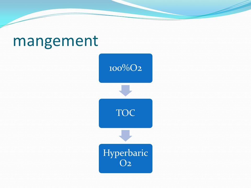 mangement 100%O2TOC Hyperbaric O2