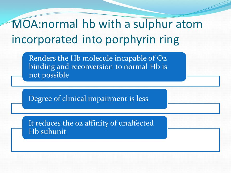 MOA:normal hb with a sulphur atom incorporated into porphyrin ring Renders the Hb molecule incapable of O2 binding and reconversion to normal Hb is not possible Degree of clinical impairment is less It reduces the o2 affinity of unaffected Hb subunit