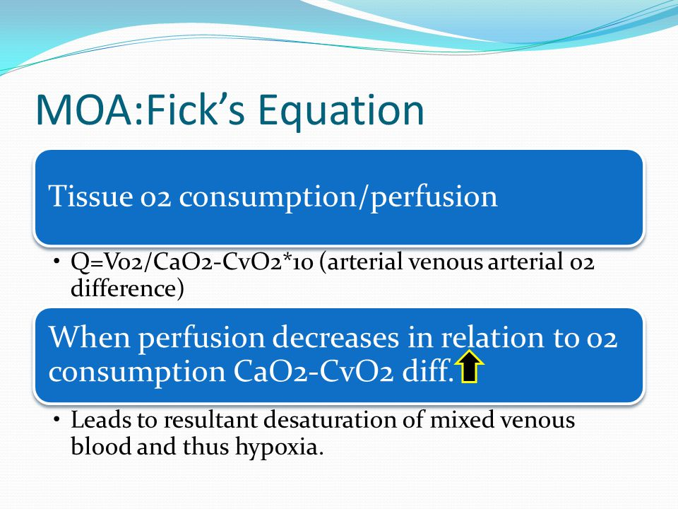 MOA:Ficks Equation Tissue o2 consumption/perfusion Q=Vo2/CaO2-CvO2*10 (arterial venous arterial o2 difference) When perfusion decreases in relation to o2 consumption CaO2-CvO2 diff.