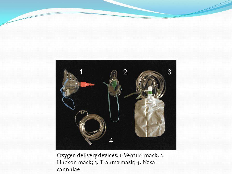 Oxygen delivery devices. 1. Venturi mask. 2. Hudson mask; 3. Trauma mask; 4. Nasal cannulae