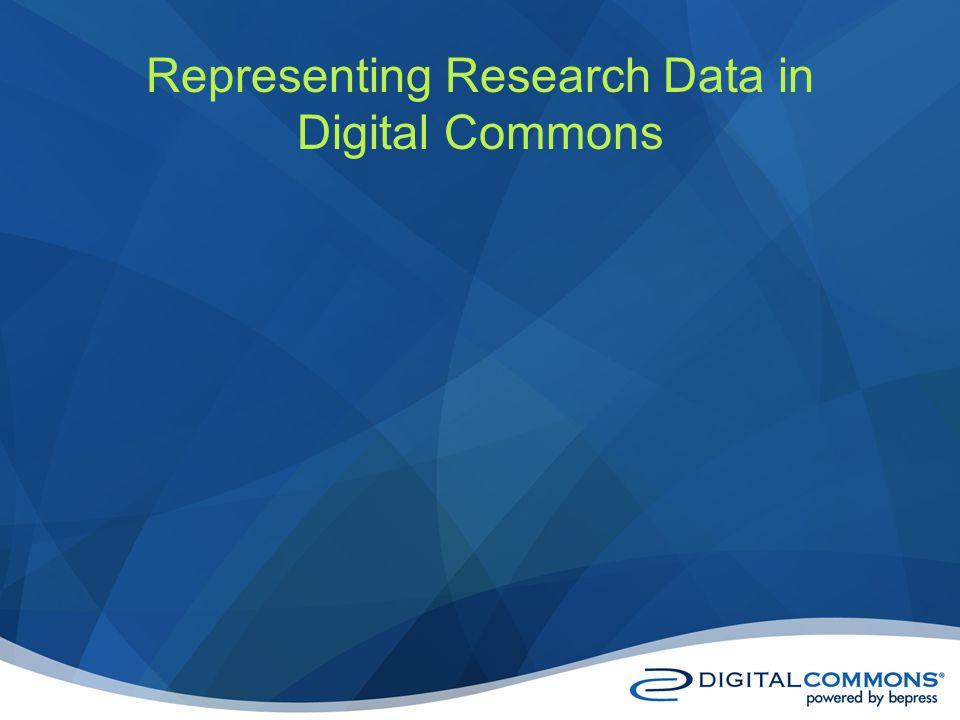 Representing Research Data in Digital Commons
