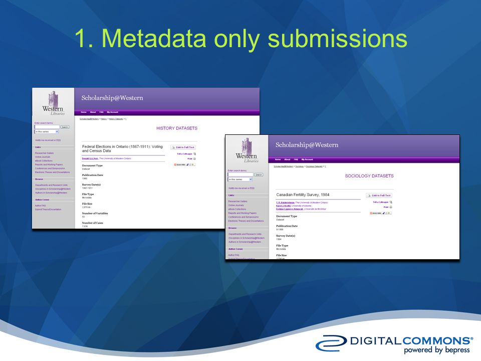 1. Metadata only submissions