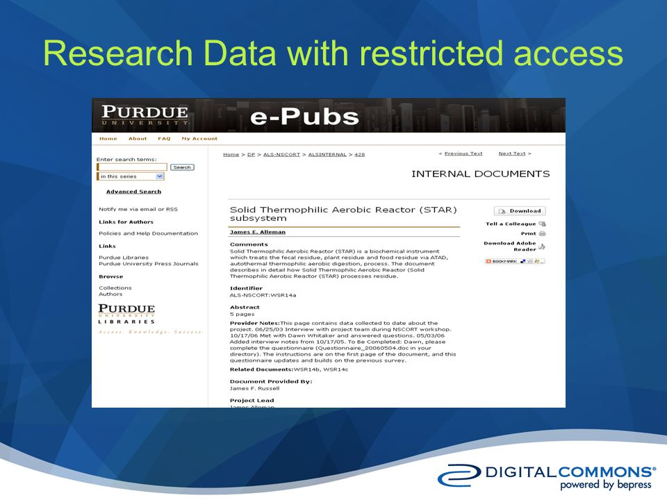 Research Data with restricted access