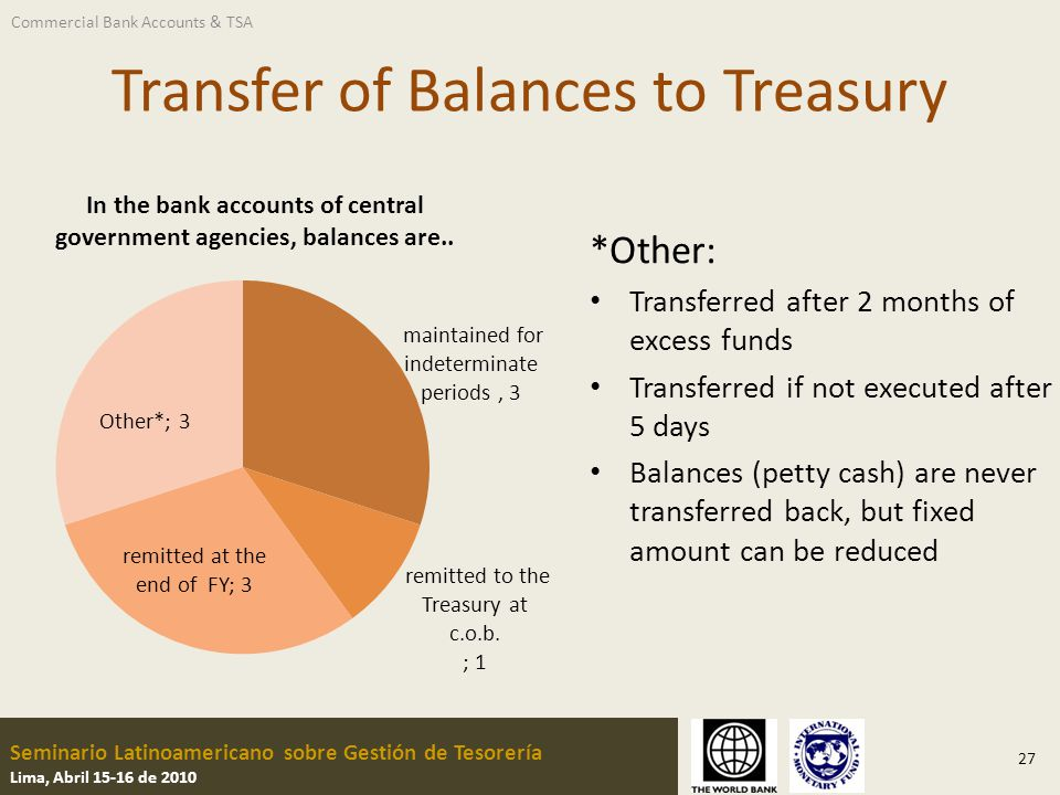 Seminario Latinoamericano sobre Gestión de Tesorería Lima, Abril 15-16 de 2010 Transfer of Balances to Treasury *Other: Transferred after 2 months of
