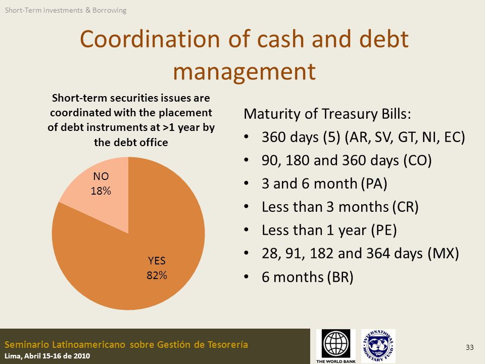 Seminario Latinoamericano sobre Gestión de Tesorería Lima, Abril 15-16 de 2010 Coordination of cash and debt management 33 Maturity of Treasury Bills: