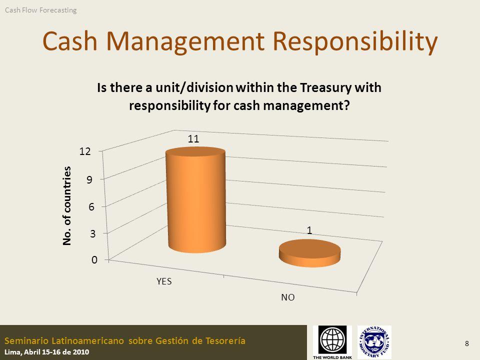 Seminario Latinoamericano sobre Gestión de Tesorería Lima, Abril 15-16 de 2010 Cash Management Responsibility 8 Cash Flow Forecasting