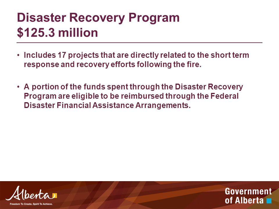 Disaster Recovery Program $125.3 million Includes 17 projects that are directly related to the short term response and recovery efforts following the fire.