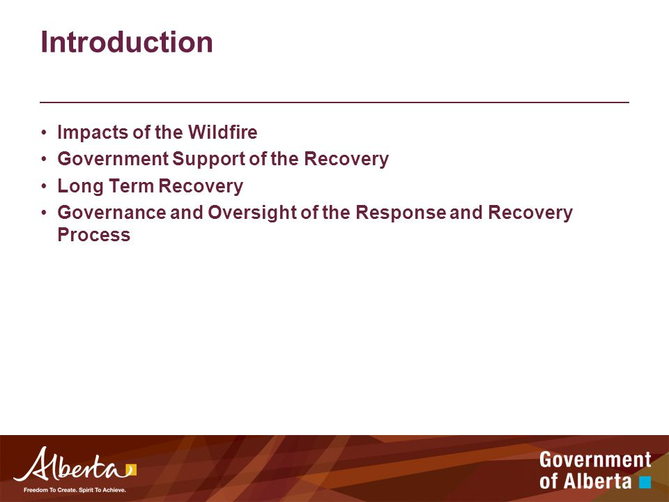 Introduction Impacts of the Wildfire Government Support of the Recovery Long Term Recovery Governance and Oversight of the Response and Recovery Process