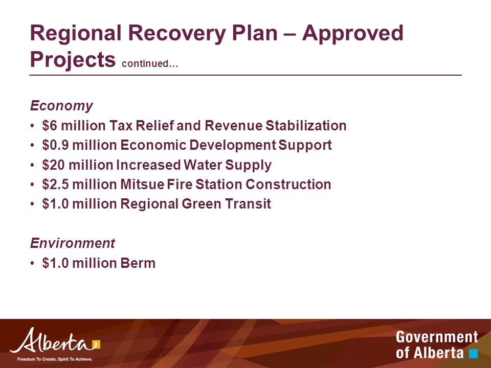 Regional Recovery Plan – Approved Projects continued… Economy $6 million Tax Relief and Revenue Stabilization $0.9 million Economic Development Support $20 million Increased Water Supply $2.5 million Mitsue Fire Station Construction $1.0 million Regional Green Transit Environment $1.0 million Berm