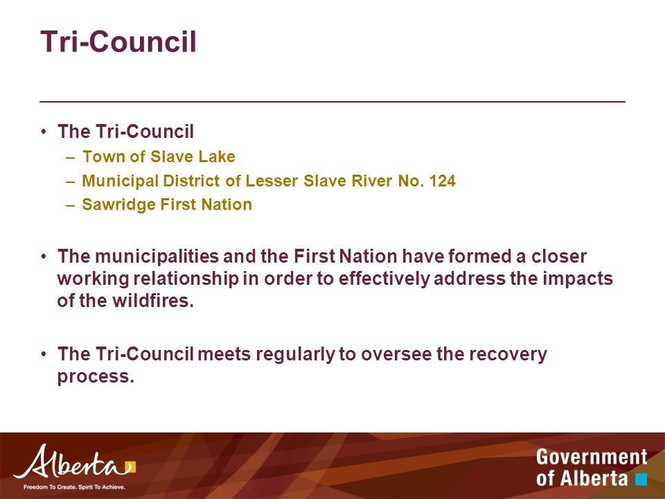 Tri-Council The Tri-Council –Town of Slave Lake –Municipal District of Lesser Slave River No.