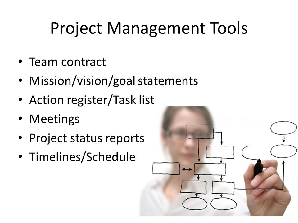 Project Management Tools Team contract Mission/vision/goal statements Action register/Task list Meetings Project status reports Timelines/Schedule