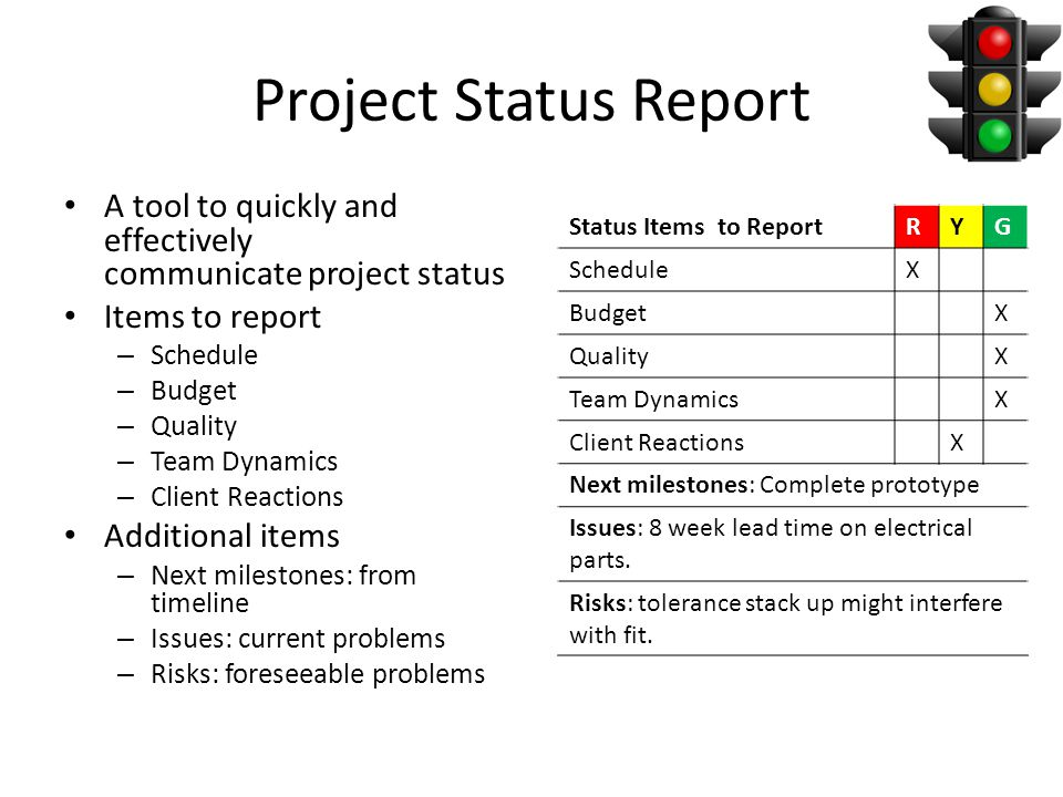 Project Status Report A tool to quickly and effectively communicate project status Items to report – Schedule – Budget – Quality – Team Dynamics – Client Reactions Additional items – Next milestones: from timeline – Issues: current problems – Risks: foreseeable problems Status Items to ReportRYG ScheduleX BudgetX QualityX Team DynamicsX Client ReactionsX Next milestones: Complete prototype Issues: 8 week lead time on electrical parts.