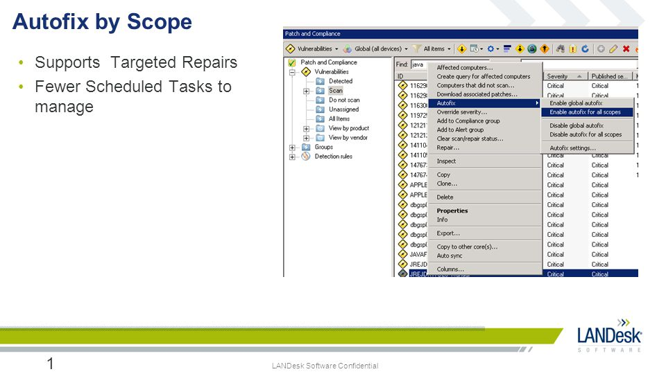 LANDesk Software Confidential Supports Targeted Repairs Fewer Scheduled Tasks to manage 17 Autofix by Scope