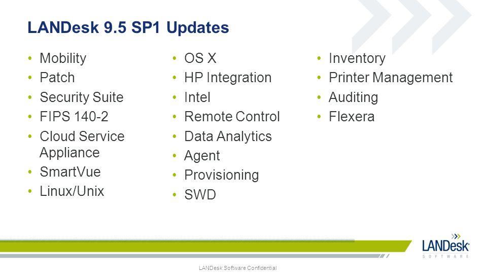 LANDesk Software Confidential LANDesk 9.5 SP1 Updates Mobility Patch Security Suite FIPS 140-2 Cloud Service Appliance SmartVue Linux/Unix OS X HP Int