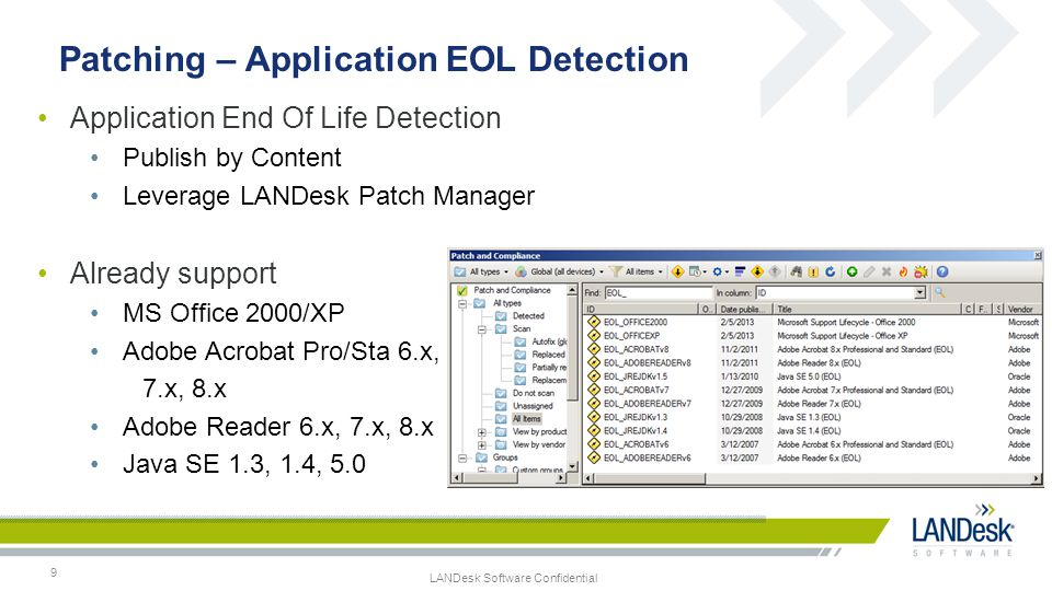 LANDesk Software Confidential Prepare Patch Reports 10 Gather Historical Information –Schedule to run on a daily basis