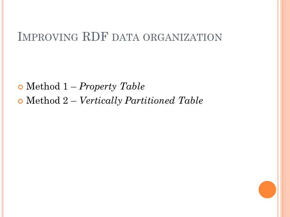I MPROVING RDF DATA ORGANIZATION Method 1 – Property Table Method 2 – Vertically Partitioned Table