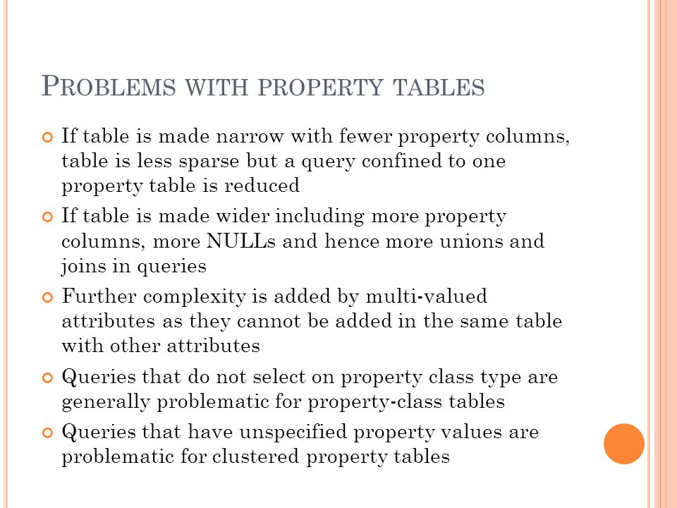 P ROBLEMS WITH PROPERTY TABLES If table is made narrow with fewer property columns, table is less sparse but a query confined to one property table is reduced If table is made wider including more property columns, more NULLs and hence more unions and joins in queries Further complexity is added by multi-valued attributes as they cannot be added in the same table with other attributes Queries that do not select on property class type are generally problematic for property-class tables Queries that have unspecified property values are problematic for clustered property tables