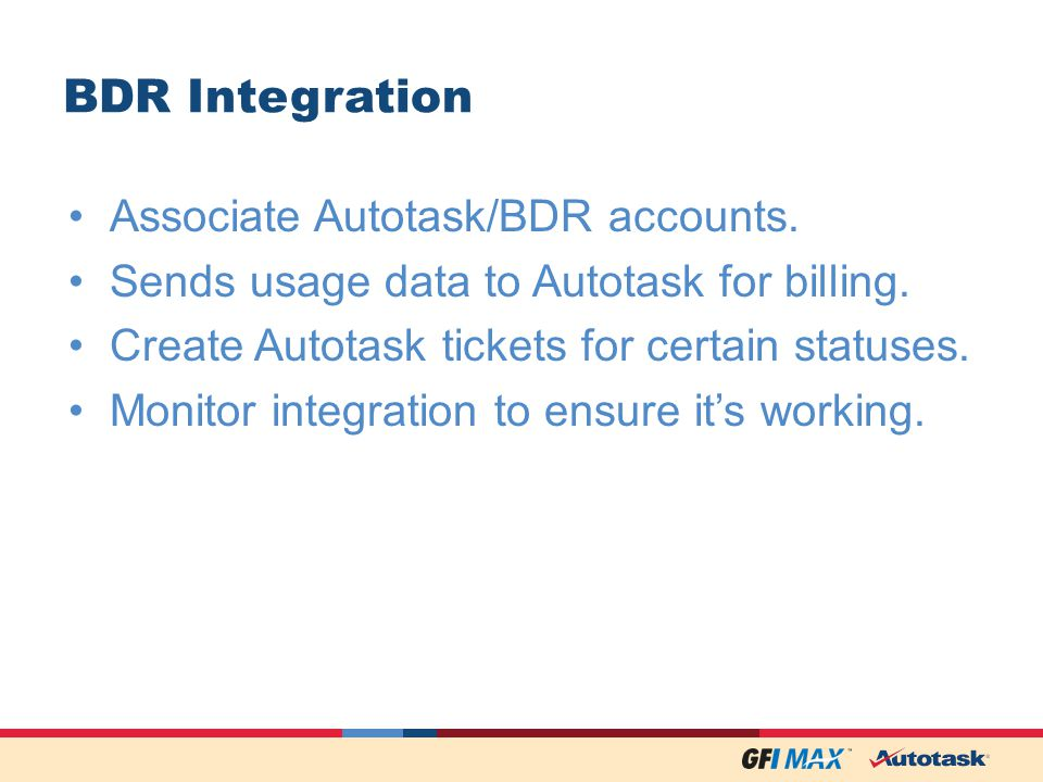 BDR Integration Associate Autotask/BDR accounts. Sends usage data to Autotask for billing.