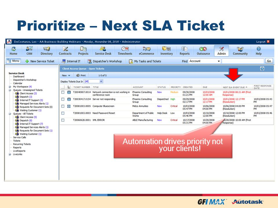 Prioritize – Next SLA Ticket Automation drives priority not your clients!
