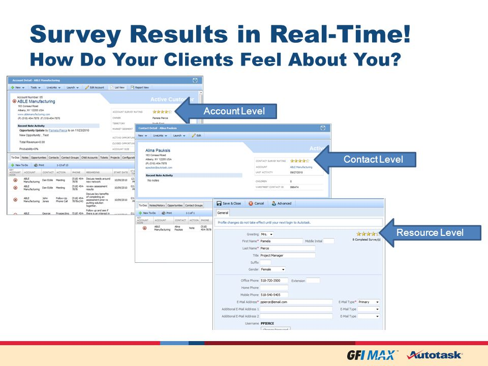 Survey Results in Real-Time. How Do Your Clients Feel About You.
