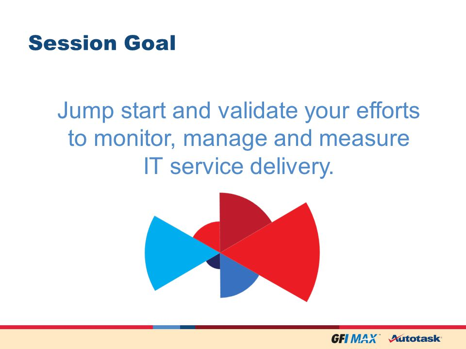 Session Goal Jump start and validate your efforts to monitor, manage and measure IT service delivery.
