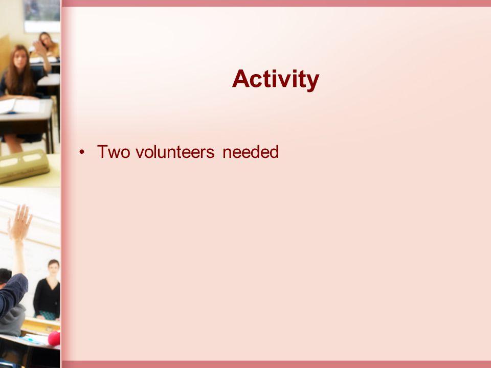 Activity Two volunteers needed