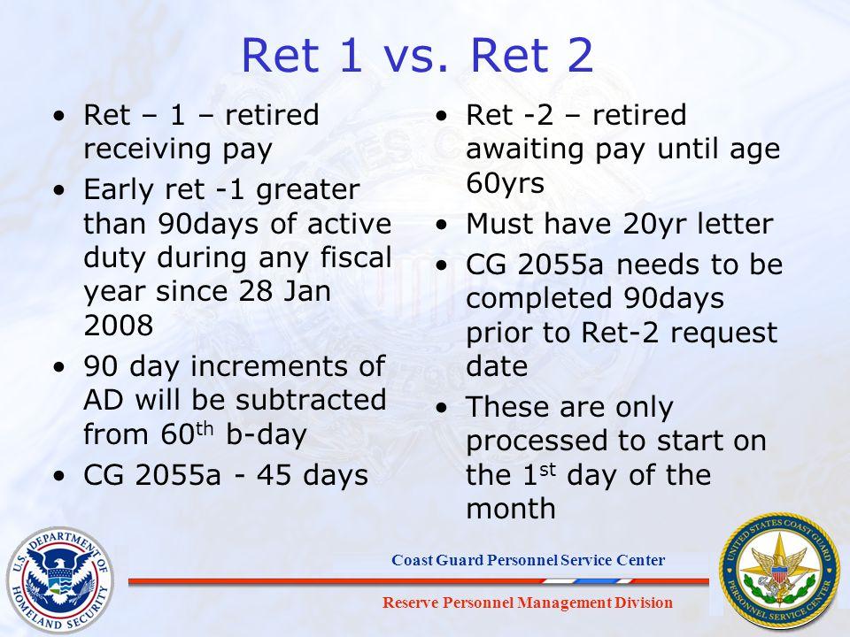 Reserve Personnel Management Division Coast Guard Personnel Service Center Ret 1 vs.