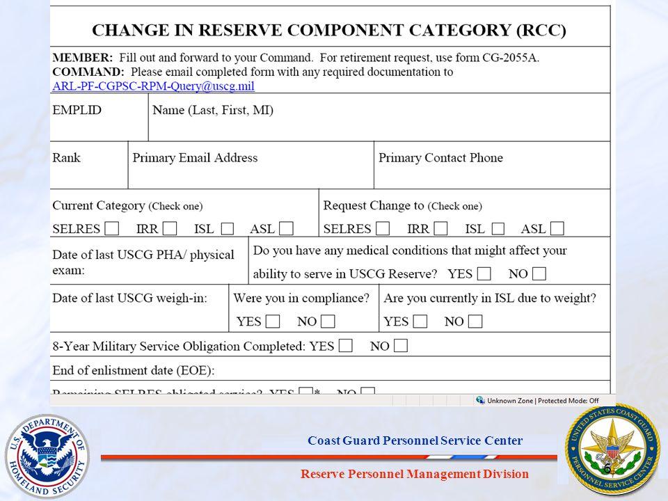 Reserve Personnel Management Division Coast Guard Personnel Service Center 6