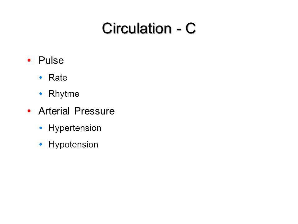 Pulse Rate Rhytme Arterial Pressure Hypertension Hypotension Circulation - C