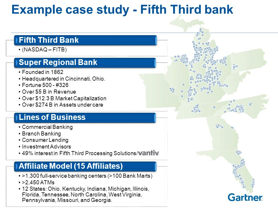 Example case study - Fifth Third bank (NASDAQ – FITB) Fifth Third Bank Founded in 1862 Headquartered in Cincinnati, Ohio. Fortune 500 - #326 Over $5 B