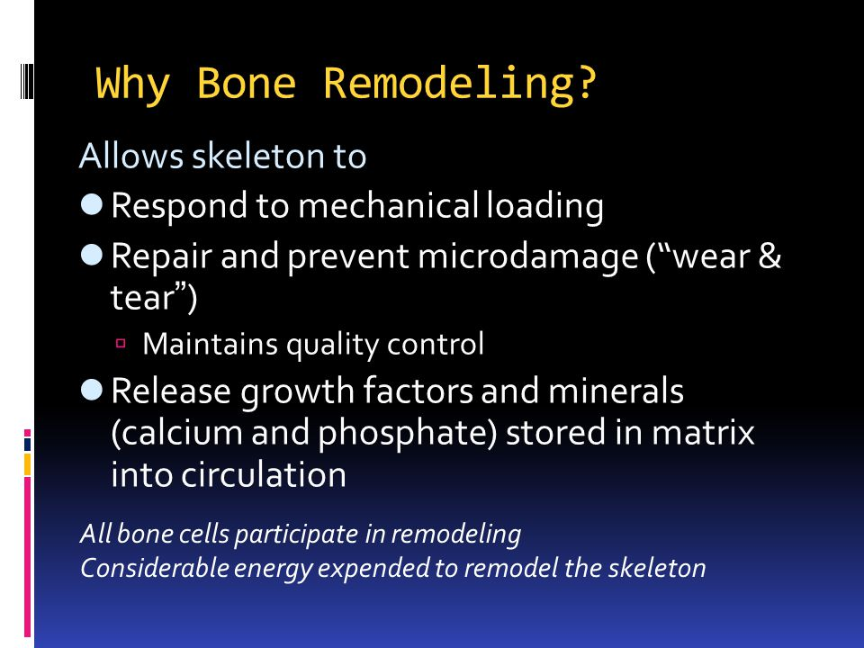 Why Bone Remodeling? Allows skeleton to Respond to mechanical loading Repair and prevent microdamage (wear & tear ) Maintains quality control Release