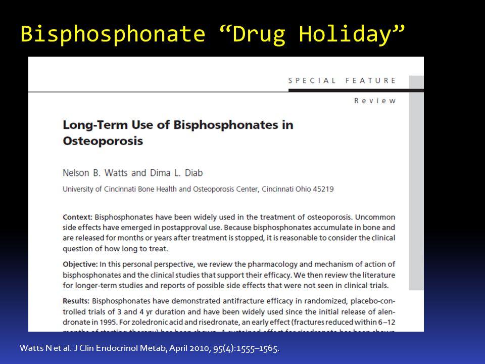 Bisphosphonate Drug Holiday. Watts N et al. J Clin Endocrinol Metab, April 2010, 95(4):1555–1565.