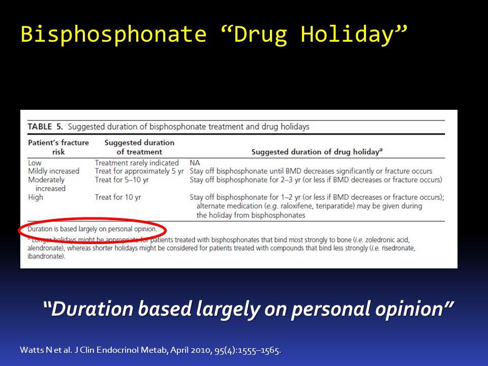 Bisphosphonate Drug Holiday. Watts N et al. J Clin Endocrinol Metab, April 2010, 95(4):1555–1565. Duration based largely on personal opinion
