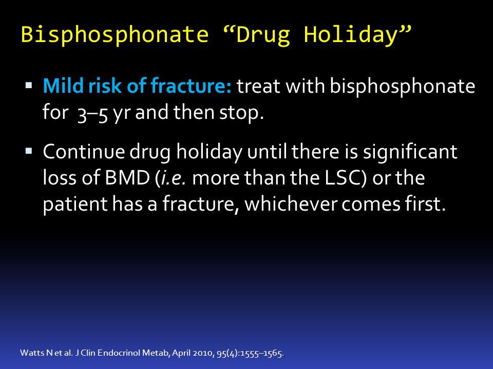 Bisphosphonate Drug Holiday. Watts N et al. J Clin Endocrinol Metab, April 2010, 95(4):1555–1565. Mild risk of fracture: treat with bisphosphonate for