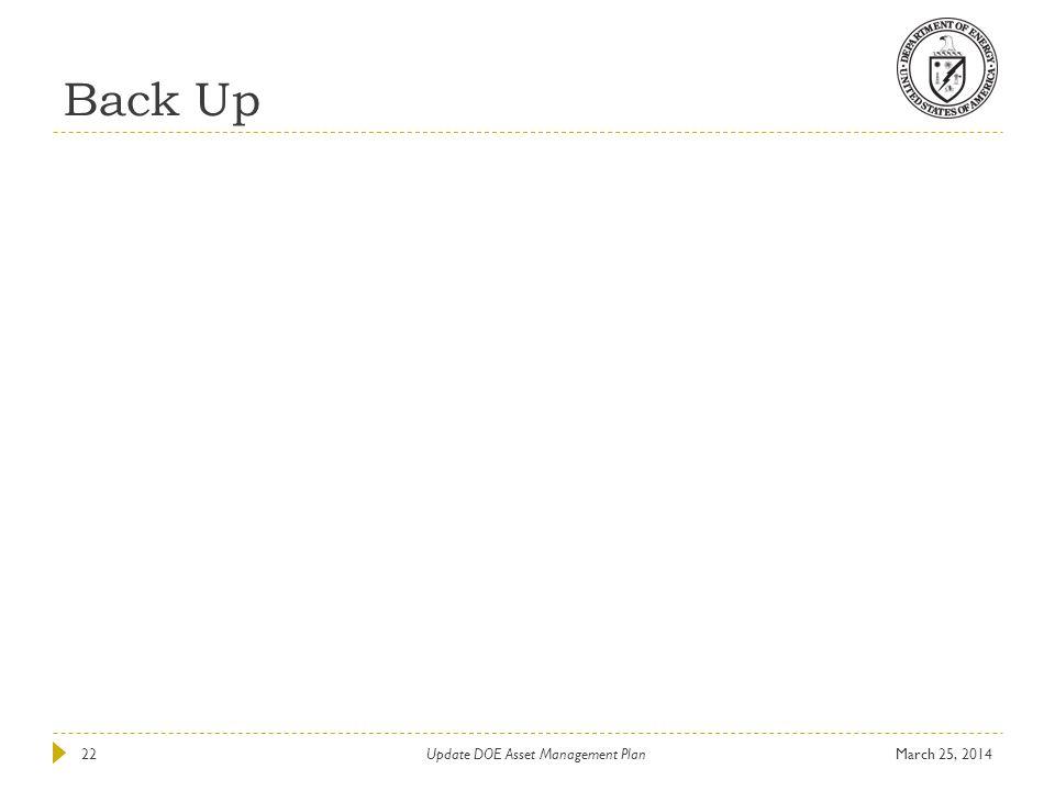 Back Up March 25, 201422Update DOE Asset Management Plan