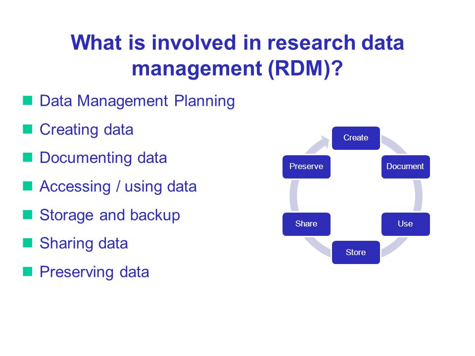 What is involved in research data management (RDM).