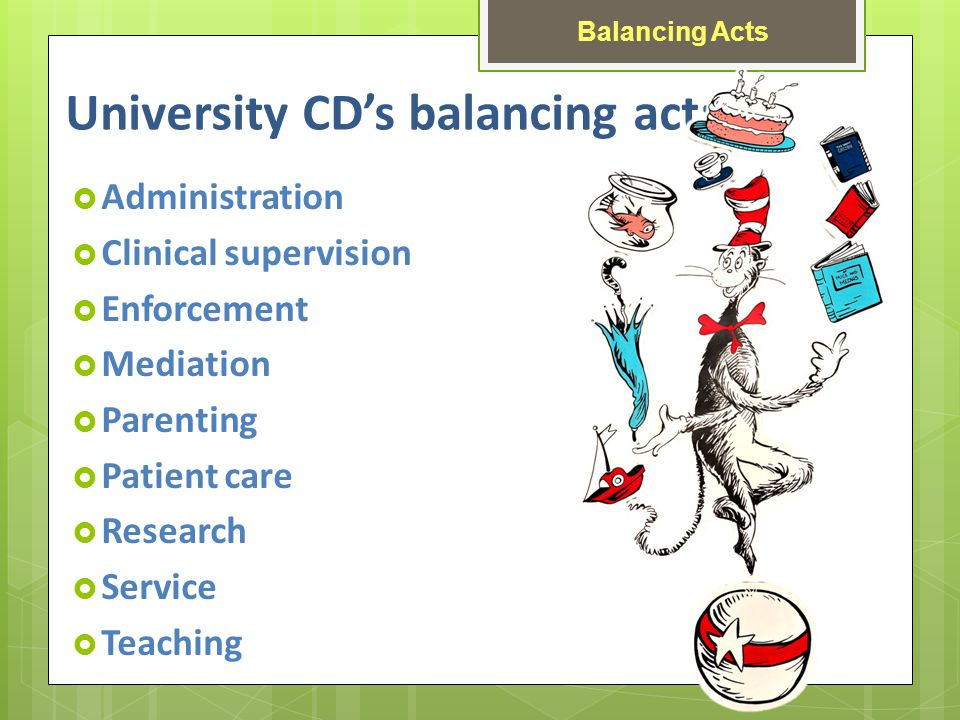 Administration Clinical supervision Enforcement Mediation Parenting Patient care Research Service Teaching Balancing Acts University CDs balancing act: