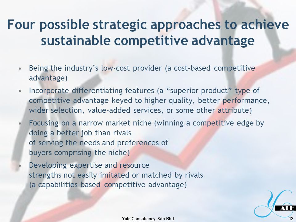Four possible strategic approaches to achieve sustainable competitive advantage Being the industrys low-cost provider (a cost-based competitive advant